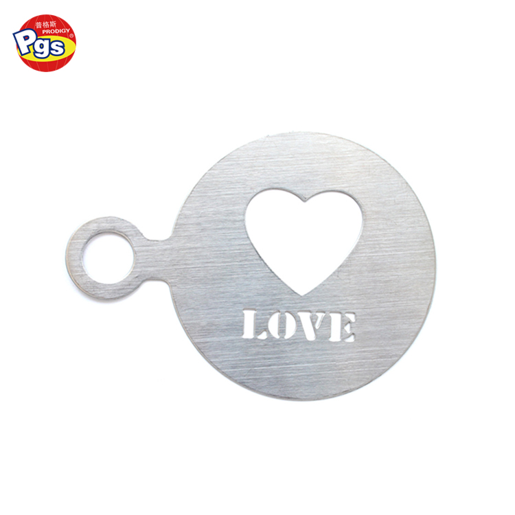 80mm round heart and love shape stainless steel coffee stencil
