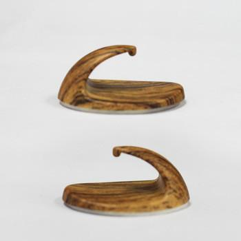 5pc ABS useful hooks with wooden printing
